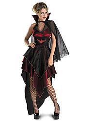 Disfraces de Cosplay Vampiros Festival/Celebración Traje de Halloween Rojo / Negro Estampado Vestido / Chal / EspinillerasHalloween /