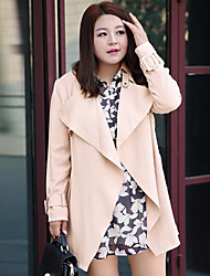MsShe Women's Plus Size / Casual/Daily Simple Trench CoatSolid Notch Lapel Long Sleeve Fall Blue / Pink / Black Polyester Medium