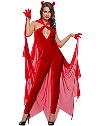 Costumes de Cosplay Ange et Diable Fête / Célébration Déguisement Halloween Rouge Couleur Pleine Collant/Combinaison / Gants / Coiffure