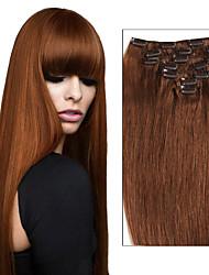 7pcs / 8pcs clip dans les extensions de cheveux bresilien humains cheveux raides pour les femmes 70g - extension de cheveux 120g clip