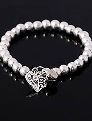 Silver Beads Strand Bracelet Alloy Heart Pendant Fashion Daily / Casual Jewelry Gift Silver1pc