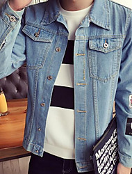 Men's Casual/Daily Vintage / Street chic Denim Jackets,Solid Long Sleeve Blue Cotton