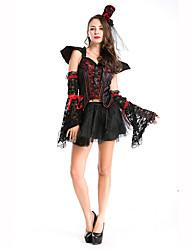 Vampiros Festival/Celebración Traje de Halloween Negro Un Color Vestido / Guantes / Capa / Para la CabezaHalloween / Navidad / Carnaval /