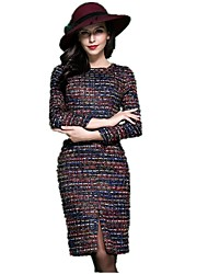Women's Plus Size / Casual/Daily / Work Simple / Sophisticated Shift / Sheath Dress,Rainbow Round Neck Knee-length Long Sleeve Multi-color