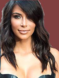 Charming Natural Long  Waves Roll 100% Human Hair Lace Front Wig