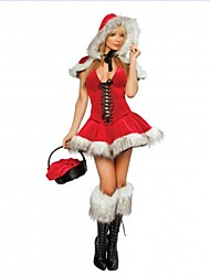 Adults Womens V-Neck Sexy Christmas Costume Women's Little Red Riding Hood Costume Sexy santa Dress Santa Claus Costumes Outfit