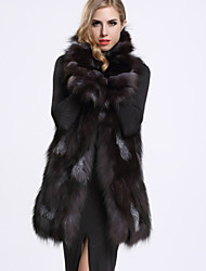 BF-Fur Style Women's Casual/Daily Sophisticated Fur CoatSolid Shirt Collar Sleeveless Winter Black Fox Fur