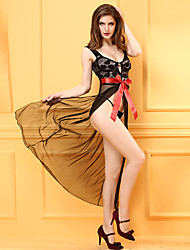 Women's Chemises & Gowns / Ultra Sexy Nightwear Sexy Jacquard-Thin Lace / Polyester Black