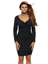Femme Foulard/Découpé/Dos Nu Moulante Robe Soirée Sexy,Couleur Pleine Col en V Mini Manches Longues Noir /Spandex Eté Taille Haute Elastique Fin