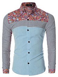 Men's Casual/Daily Simple Spring / Fall ShirtFloral / Patchwork Shirt Collar Long Sleeve  Cotton Medium hot sale