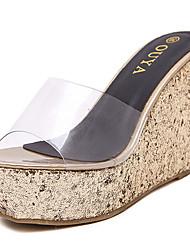 Damen-Sandalen-Lässig-PVC-Keilabsatz-Others-Silber / Gold