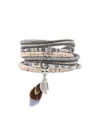 Femme Charmes pour Bracelets Bracelets Bracelets en cuir Bracelet Cuir Strass Plume Imitation de diamantMode Vintage Bohême Personnalisé