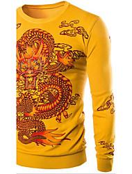 Herren Standard Pullover-Ausgehen Arbeit Urlaub Retro Street Schick Chinoiserie Druck Mehrfarbig Rundhalsausschnitt LangarmKaninchen-Pelz