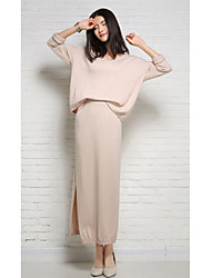 Damen Lang Pullover-Ausgehen Urlaub Street Schick Solide Schwarz Rundhalsausschnitt Langarm Wolle Winter Mittel Mikro-elastisch