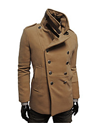 Men's Casual/Daily / Work Simple Trench Coat,Solid Shirt Collar Long Sleeve Fall / Winter Black / Brown / Gray Wool Medium