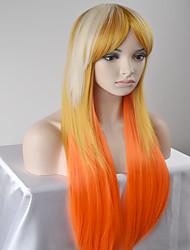 Mujer Pelucas sintéticas Sin Tapa Largo Muy largo Liso Rubio dorado Peluca natural Peluca de Halloween Peluca de carnaval Las pelucas del