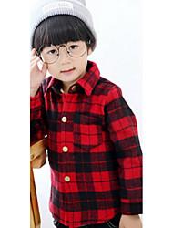 Boy Casual/Daily Check Shirt,Cotton Winter Long Sleeve Regular