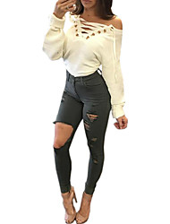 Women's Club Sexy Bodycon DressSolid Boat Neck Mini Long Sleeve White Cut Out One Step Dress