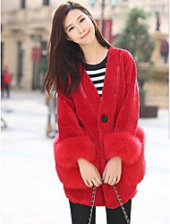 Women's Casual/Daily Simple Fur Coat,Solid Long Sleeve Red / White / Black / Gray Wool