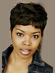 Femme Perruques capless à cheveux humains Noir Court Ondulés Coupe Lutin Coupe Dégradée Avec Frange Perruque afro-américaine