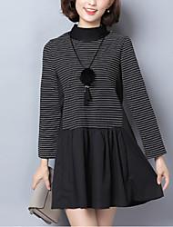Ample Robe Femme Sortie / Grandes Tailles Chic de Rue,Rayé / Mosaïque Col Arrondi Mini Manches Longues Noir Polyester Hiver Taille Normale