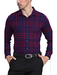 Men's Casual/Daily / Formal / Work Vintage / Simple Fall / Winter Shirt,Geometric / Plaid Shirt Collar Long Sleeve Blue / RedCotton /