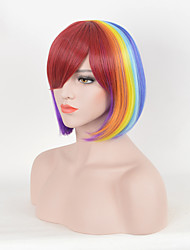 Rainbow Colorful Fashion Party Wig with Bang Bright Short  Straight Trendy Heat Resistant Synthetic Wig for Women Capless Bobo Style High Quality