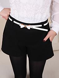 Feminino Pequeno Reto Chinos / Shorts Calças-Cor Única Casual Simples Chifon Cintura Média Zíper Poliéster Micro-Elástico Com Molas