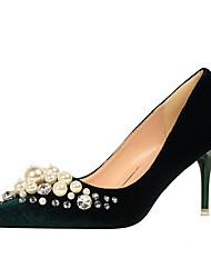 Women's Heels Spring / Winter Comfort Suede Dress Stiletto Heel Imitation Pearl Black / Green / Pink / Red / Gray / Almond / Burgundy