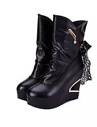 Women's Boots Winter Comfort Leatherette Dress Casual Wedge Heel Split Joint Black White