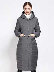 Пальто Простое Пуховик Для женщин,Однотонный На каждый день Другое Пух белой утки,Длинный рукав Капюшон