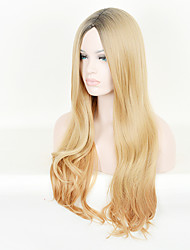 Kylie Jenner Style Long Choppy Wave Hair Wig Black Root Blonde Mix Ombre Wigs