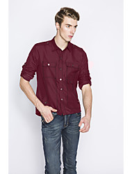 Men's Wedding / Formal / Work Simple / Cute / Street chic All Seasons Shirt,Solid Shirt Collar Long Sleeve Blue / Red / Black / Green