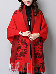 Women's Casual/Daily Street chic Long Cloak / Capes,Solid Blue / Red / Black / Orange V Neck Long Sleeve Wool / Rayon / AcrylicFall /