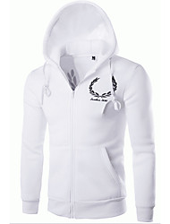 Men's Casual/Daily Simple Hoodie Jacket Letter Embroidered Micro-elastic Cotton Long Sleeve Fall Winter