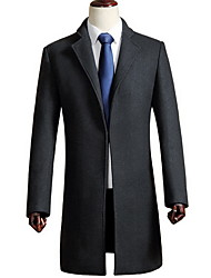 Men's Casual/Daily Simple Coat,Solid Stand Long Sleeve Fall / Winter Black / Gray Wool Medium
