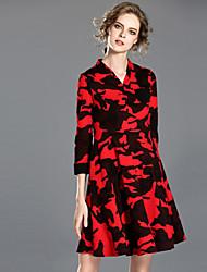 INPLUS LADY Women's Casual/Daily Simple Shift DressSolid Deep V Knee-length Sleeveless Black Wool / Polyester Fall Mid Rise Micro-elastic Medium