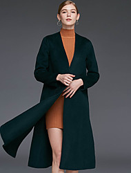 Xuanyan Women's Casual/Daily Simple CoatSolid V Neck Long Sleeve Winter Brown / Green Wool