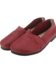 Women's Loafers & Slip-Ons Fall Winter Ballerina Leather Outdoor Office & Career Casual Flat Heel Others Yellow Burgundy Coffee