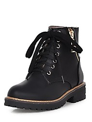 Women's PU Low-top Solid Zipper Low-Heels Boots