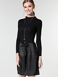 Women's Going out / Casual/Daily Simple / Street chic Sweater Dress,Color Block Round Neck Knee-length Long Sleeve Blue / GrayCotton /