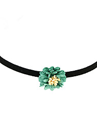 Simple Model Flower Pendant Black Choker Necklaces