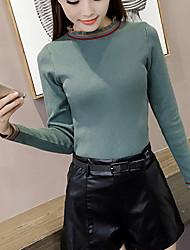 Damen Standard Pullover-Ausgehen Lässig/Alltäglich Einfach Niedlich Solide Gestreift Blau Weiß Beige Schwarz Grün Rundhalsausschnitt