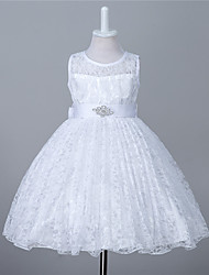 A-Line Knee Length Flower Girl Dress - Lace Sleeveless Jewel Neck with Crystal