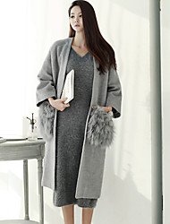 Women's Casual/Daily Simple Trench Coat,Solid Long Sleeve Black / Gray Wool