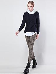 Feminino Skinny Chinos Calças-Xadrez Happy-Hour Casual Trabalho Vintage Simples Moda de Rua Cintura Média Elasticidade Algodão Elastano