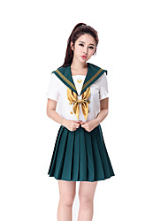 Cosplay Costumes Cheerleader Costumes Career Costumes Festival/Holiday Halloween Costumes Solid Top Skirt Halloween Carnival Female
