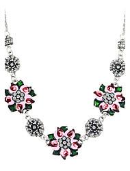 Bohemian Style Enamel Flower Rhinestone Shourouk Necklace