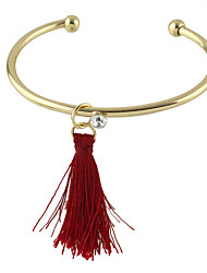 Punk Rork Gold Plated Cuff Bracelet with Long Tassel for Ladies