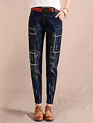 Women's Fashion Loose Jeans PantsGoing out Street chic Solid Patchwork High Rise Button Cotton Inelastic Winter